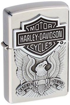 zippo Harley-Davidson Engraved Logo Lighter 1/2 - Mechero, color cromo cepillado