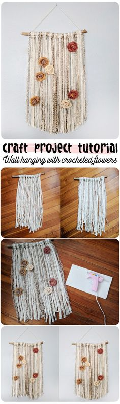 craft project tutorial - wall hanging with crocheted flowers - pin to pinterest