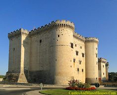 Château de Tarascon,  Tarascon, Bouches-du-Rhone, Provence, France...     www.castlesandmanorhouses.com   ...    The Château de Tarascon is one of the most impressive medieval castles in the world. It sits on solid rock on the left (east) bank of the Rhône River. It was built during the 15th century by Louis II of Anjou and his son René on the site of an earlier defensive structure.