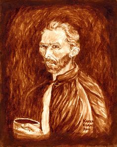 Espresso to Gogh painted using only coffee by Karen Eland, $20.00