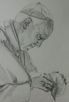 A sketch of Pope Francis holding a new born. He really tries to remind us that God is love. Pencil Drawings, My Drawings, Pope Francis, People Of The World, Designs To Draw, Gods Love, Sketch, Photoshop, Characters