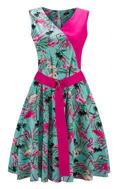 Women s Pink Flamingo Print Vintage Summer Dress 9d3a695929e5