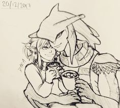 """dyradoodles: """"Request pic! Some Sidlink~ Hot chocolate and snuggles sound good right now lol """""""