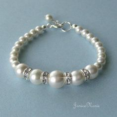 Flower Girl Pearl Bracelet - Crystal and Pearl Bracelet - Wedding Party Jewelry by JaniceMarie