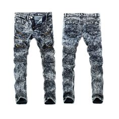 European American Style luxury brand men jeans Men's jeans Slim Straight denim trousers pop blue white zipper slim jeans for men