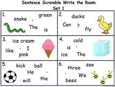 Write the Room Scramble (Sight Words and Simple Sentences)