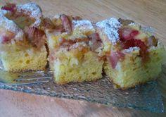 Fotorecept: Rebarborová bublanina Krispie Treats, Rice Krispies, Rhubarb Recipes, Muffin, Baking, Breakfast, Food, Basket, Fine Dining