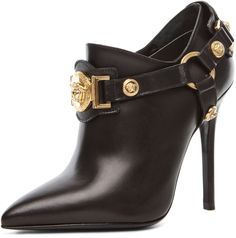 VERSACE Harness Bootie in Black at Forward by elyse walker Heeled Boots, Bootie Boots, Shoe Boots, Ankle Boots, Zapatos Shoes, Shoes Heels, Madrid, Hot Shoes, Beautiful Shoes