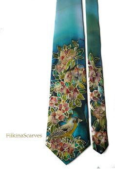 #SilkTie Blooming #Flowers #Bird #Handpainted #Silk #Necktie #SilkPainting Blue# Giftfothim #Neckties #weddingtie #groom #ArtSilk #Handmade #Art  by FilkinaScarves on Etsy