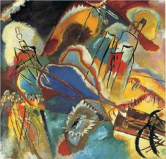 """Improvisation 30 (Cannons) - Wassily Kandinsky.  1913.  Oil on canvas.  43 1/4 x 43 3/4"""".  The Art Institute of Chicago, Chicago IL, USA."""