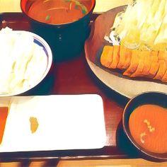 牛かつ❤️ #牛#カツ#牛カツ#japan#tokyo#travel#グルメ#lunch#ランチ#meal#meat#春 #spring #米#ライス#肉#味噌#赤汁#キャベツ#野菜#サラダ#prisma#art #芸術