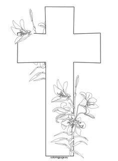 Cross and flowers | Coloring Page