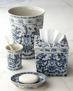 "Horchow ""Blue & White Toile"" Porcelain Vanity Accessories"