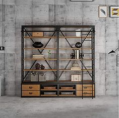 Solid Wood Bookshelf, Wood Bookshelves, Bookcase, Iron Wall, Library Ideas, Metal Walls, Wrought Iron, Industrial Style, Interior Design