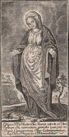 María Gravida Un grabado de una imagen de María embarazada en la iglesia agustiniana en Praga, República Checa siglo 17.  En Inglés este tipo de imagen que normalmente se conoce como Nuestra Señora de la Expectación.