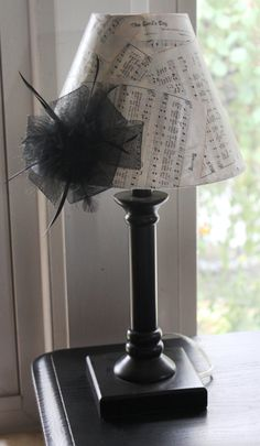 Shabby Chic Black and White table lamp by ChicAntiquesOxford, $32.00