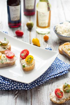 Ricotta Toasts with Tomatoes- Rich homemade ricotta layered thick on French bread toasts and topped with fresh tomatoes and basil.
