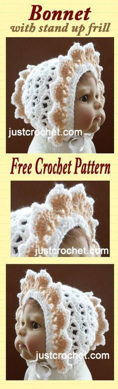 Free baby crochet pattern for stand up frill bonnet, to fit months. Free baby crochet pattern for stand up frill bonnet, to fit months. Crochet Amigurumi Free Patterns, Knitting Patterns Free, Baby Knitting, Free Crochet, Crochet Hats, Crochet Baby Bonnet, Crochet Baby Clothes, Baby Hat Patterns, Free Baby Stuff