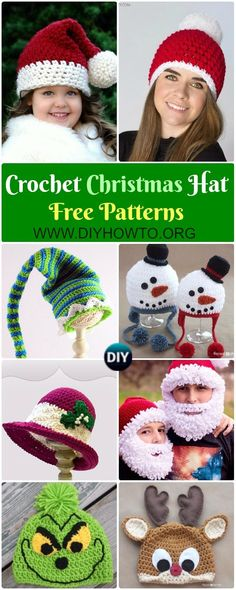 Crochet Christmas Hat Gifts Free Patterns Tutorials Collection of Crochet Christmas Hat Gifts Free Patterns: Crochet Christmas Tree, Elf hat, santa hat, elf hat, Snowman hat holiday gift via Christmas Tree Hat, Christmas Beanie, Crochet Christmas Hats, Christmas Crochet Patterns, Holiday Crochet, Christmas Ideas, Christmas Gifts, Xmas, Hat Crafts