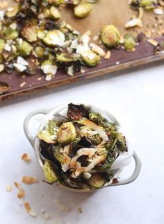 Peppered Brussels Sprouts with Toasted Coconut | Hummusapien