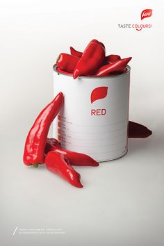 Fresh red pepper…so red, you'd think they are freshly painted! / Leaf / Poster / Vegetarian fast food concept / SHONSKI art and design studio