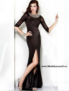 Cut Out Abendkleid in Schwarz mit Ärmel