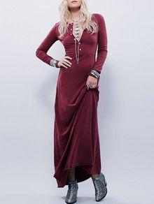 Burgundy Long Sleeve Maxi Dress