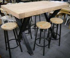 New Recycled Timber French Industrial Metal Bar Height High