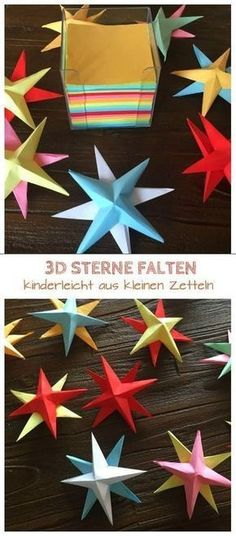 stars tinker with children out of paper: Instructions - Make super beautiful Christmas stars. Informations About basteln mit Kindern aus Papier: A - Christmas Time, Christmas Crafts, Christmas Decorations, Xmas, Christmas Ornaments, Christmas Stars, Christmas Origami, Thanksgiving Crafts, Kids Crafts