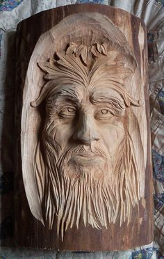 Face Coming Out Of The Wood - My father in law carved this.