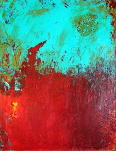 Heart on Fire  Abstract Mixed Media Painting on by TheVelvetGarage
