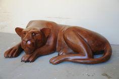leão decoração escultura de madeira arte paisagismo- vrmd067