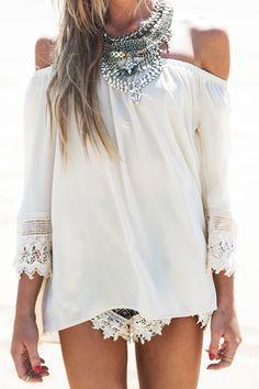 Slash Neck Off-The-Shoulder Lace Splicing T-Shirt