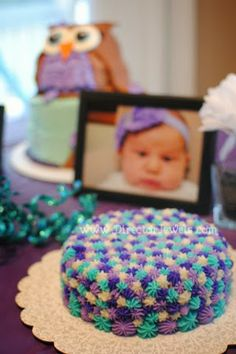 Baby Girl Purple and Teal Turquoise First Birthday Owl Party www.directorjewels.com - Smash Cake, Owls, Photo Display baby girl 1st birthday cakes, first birthday girl smash cake, baby birthday cakes, 1st birthday cakes girls, teal birthday cakes, first birthday girl cake, 1st birthday smash cake, girls owl birthday cakes, first birthday smash cake