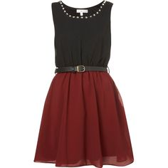 **Studded Belt Dress by Rare (40 CAD) ❤ liked on Polyvore featuring dresses, vestidos, oxblood, oxblood dress, no sleeve dress, red skater dress, sleeveless skater dress and studded dress