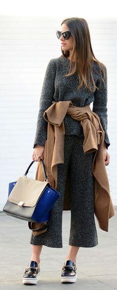 Gray Knit Culottes by Fashionvibe