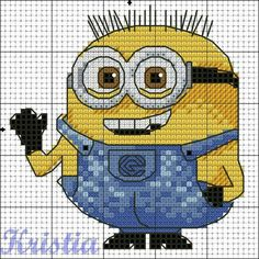 Minion. Cross stitch pattern, part 2 ... no color chart available, just use pattern chart as your color guide.. or choose your own colors...