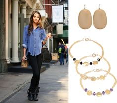 Polish your #casual attire by layering a few #colorful #bracelets $78 http://www.ktcollection.com/item/GB015/gold-triple-disc-citrine-bracelet/ and slipping on the $44 Gold Mirror #Earrings http://www.ktcollection.com/item/GE101/gold-mirror-earrings/. And presto, you are ready for coffee with the girls and running errands in style!