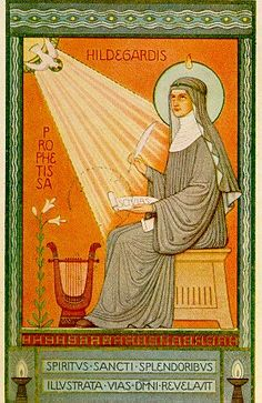 St. Hildegard was a most remarkable woman. The German mystic was a poet, composer, writer, prophet, physician, & moralist. She fearlessly rebuked popes and bishops, princes and lay people. Her greatest work was on 26 visions dealing with God and man, creation, redemption and the Church. She composed a sacred cantata and wrote 50 allegorical homilies. She wrote a book on natural history, and another on medicine. Some of her ideas on blood circulation and mental illness were far ahead of her…