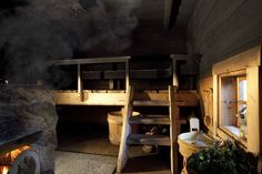 Interior of the traditional Juuka based smoke sauna Electric Sauna Heater, Modern Saunas, Sauna Design, Design Design, Finnish Sauna, Steam Sauna, Summer Cabins, Backyard Buildings, Rocket Stoves