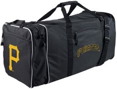 Pittsburgh Pirates Duffle Bag MLB Travel Gym Team Logo Duffel Tote Black