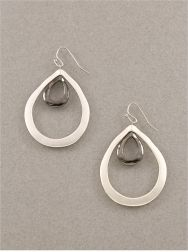 """$8.95 Silver Double Tear Drops Double tear drop design earrings. Perefect for a monochromatic black and white look that can go from day to night. Also available in all black hematite. 1 1/2"""" total drop length..."""