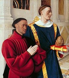 From Art History Jean Fouquet, Étienne Chevalier and Saint Stephen, left wing of the Melun Diptych Oil on wood panel, × cm Saint Michael, Renaissance Paintings, Renaissance Art, Victorian Paintings, Renaissance Fashion, Madonna, Jean Fouquet, 15th Century Clothing, Hans Holbein The Younger