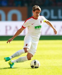 Paul Verhaegh of Augsburg in action during the Bundesliga match between FC Augsburg and SV Darmstadt 98 at WWK Arena on September 24, 2016 in Augsburg, Germany.
