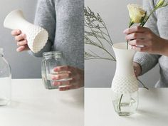 Lace Vase: A soft vase to reuse plastic bottles and glass containers in a new way. The neck shape can fit variable sized containers.