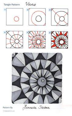 Online instructions for drawing Hanneke Sieben's Zentangle® pattern: Vano. Art Doodle, Tangle Doodle, Tangle Art, Zentangle Drawings, Doodles Zentangles, Doodle Drawings, Doodle Patterns, Zentangle Patterns, Doodle Borders