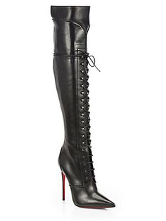 A #Louboutin kind of day - Christian Louboutin Mado Leather Lace-Up Over-The-Knee Boots
