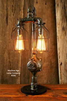 Steampunk Lamp, Antique Steam and Gear Base #506