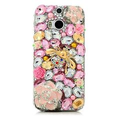3D Rhinestone Case for HTC One M8 Luxury Glitter Bling Crystal Diamond Protective Shell Cover for HTC One M8