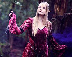 Gabriel Dress - Wine Medieval / Elven Style Velvet Dress